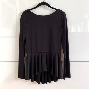 Alice + Olivia Black Jersey Peplum Top